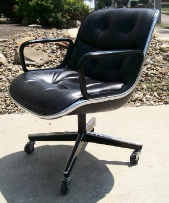 Modern vintage knoll pollock black leather executive swivel chair