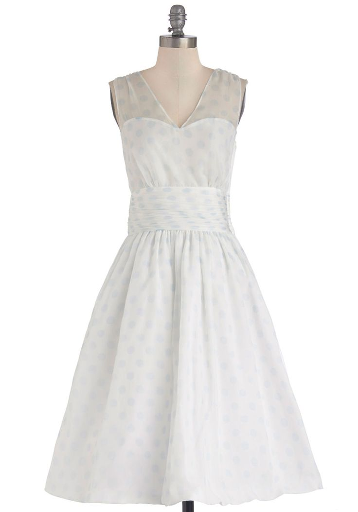 In the office you exude professionalism, and at the firm's annual party you look perfectly polished in this white A-line, which is dotted in pale blue and exclusive to ModCloth.