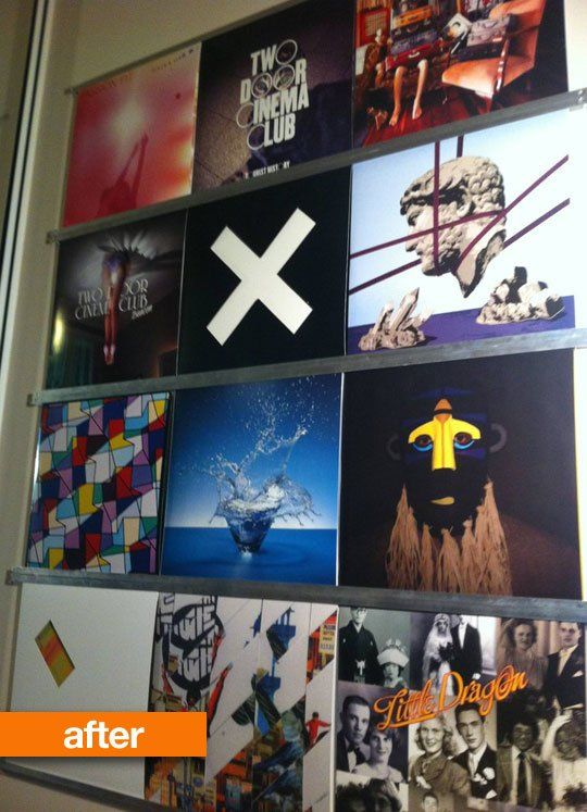 With just eight strips of 12 x 12 x 1000mm aluminum channels and a handful of timber wall screws to secure them onto the wall, he created a musical wall gallery with the album artwork his favorite bands. . .