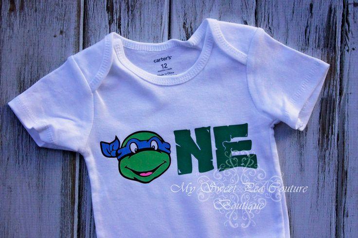 First Birthday Ninja Turtle Onesie- Ninja Turtles- Personalized- First Birthday Outfit- 1st Birthday- TMNT Birthday- One Oneise- Photo Prop by MySweetPeaCouture on Etsy