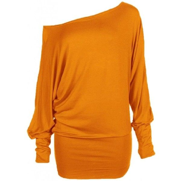 Funky Boutique Womens PLUS SIZE Batwing Top Plain Long Sleeve Off... ($0.65) ❤ liked on Polyvore featuring tops, shirts, dresses, off shoulder top, women plus size tops, orange tank top, orange top and off the shoulder tops