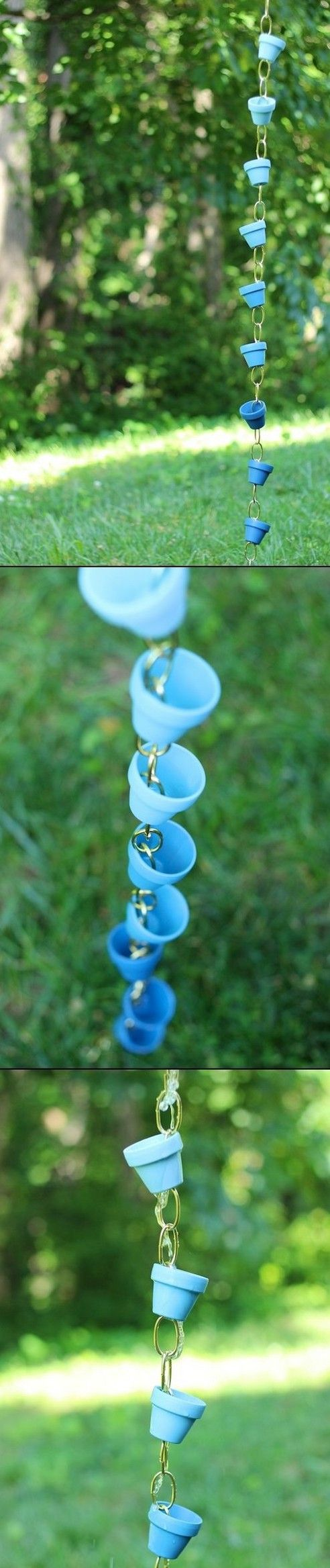 For gifts - paint them the recipient's favorite color.  DIY OMBRE COLOUR - SMALL POTs -  RAIN CHAIN