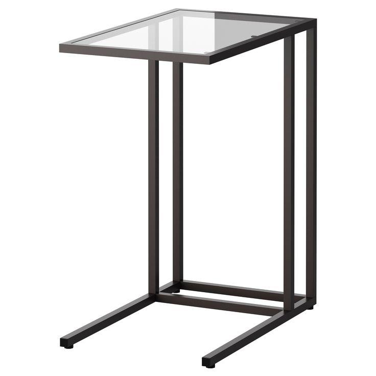 IKEA - VITTSJÖ, Supporto per PC portatile, marrone-nero/vetro, , Prodotto in vetro temprato e metallo, materiali resistenti che permettono un design di ampio respiro.