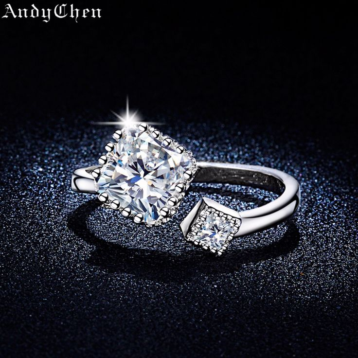 AndyChen Silver Plated Square Crystal Jewelry Open Engagement Rings for Women Vintage Wedding Rings Bague Bijoux Femme ASR316