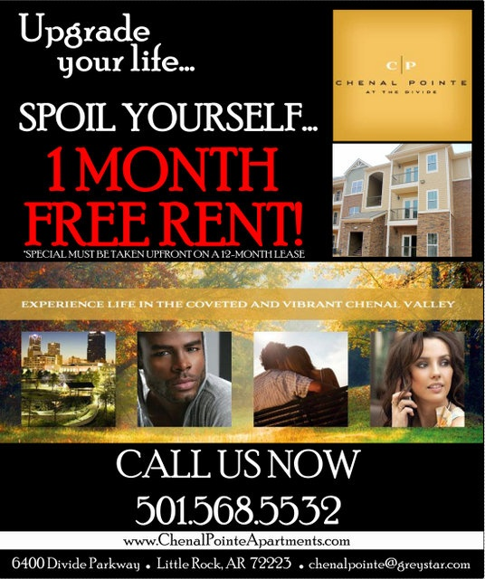 Looking For Place To Rent: Flyer I Made For One Month Free Rent. Chenal Valley In