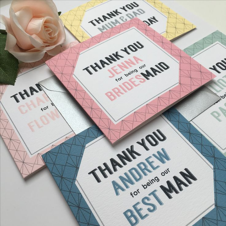 Colourful geometric print wedding party thank you cards for your Bridesmaids, Best Man, Usher and all the other important people there on your big day!
