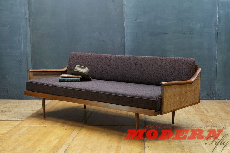 SOLD - 1960s Mid-Century Craftsman Daybed Walnut Knobby Wool Modern50 by Modern50 on Etsy https://www.etsy.com/uk/listing/173620259/sold-1960s-mid-century-craftsman-daybed