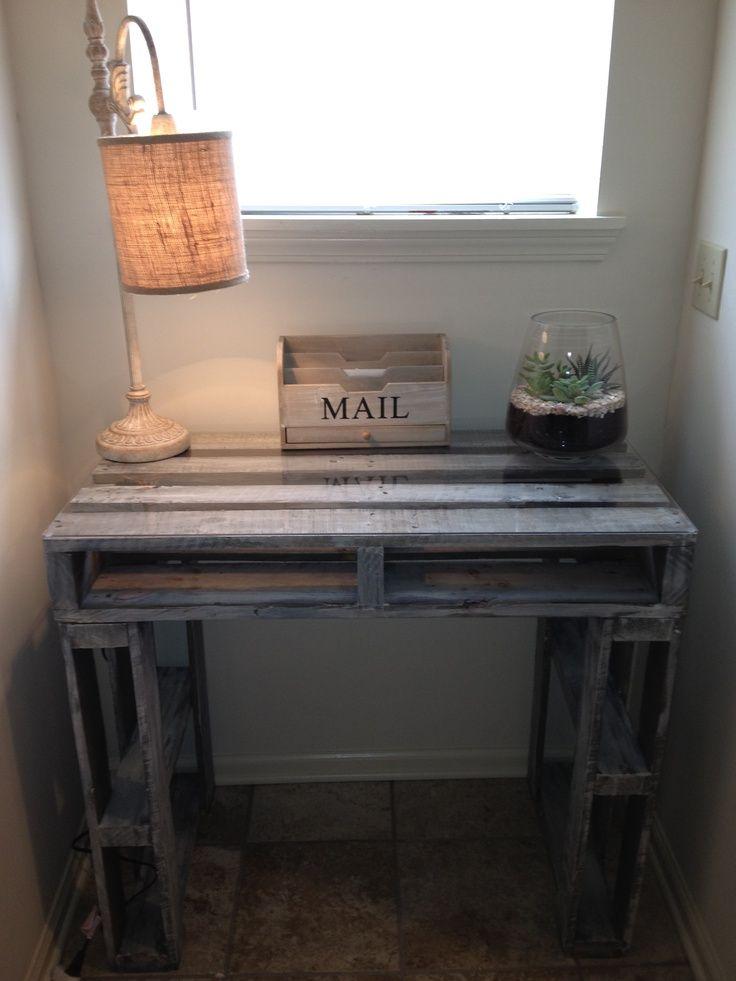 Rustic grey pallet computer desk