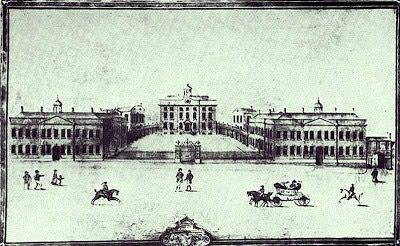 Once on  the site of St Georges Hall, 'The Infirmary and Seamen's Hospital with the Medical Library on the extreme right, c. 1813.'