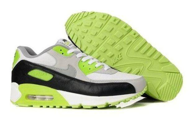 2014 New Online Cheap Air Max 90 Mens Shoes Black White Green