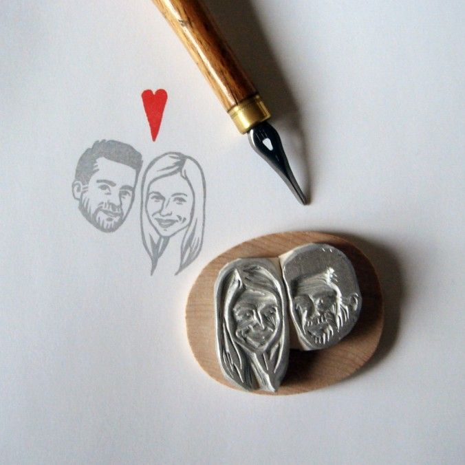 personalized stamp.Portraits Stamps, Ideas, Thank You Note, Couple Portraits, Couples Stamps, Couples Portraits, Handcarved Rubber, Rubber Stamps, Custom Stamps