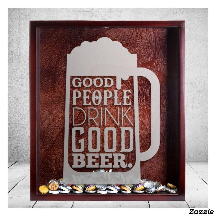 Large Beer Cap Shadow Box & Beer Quote Engraving