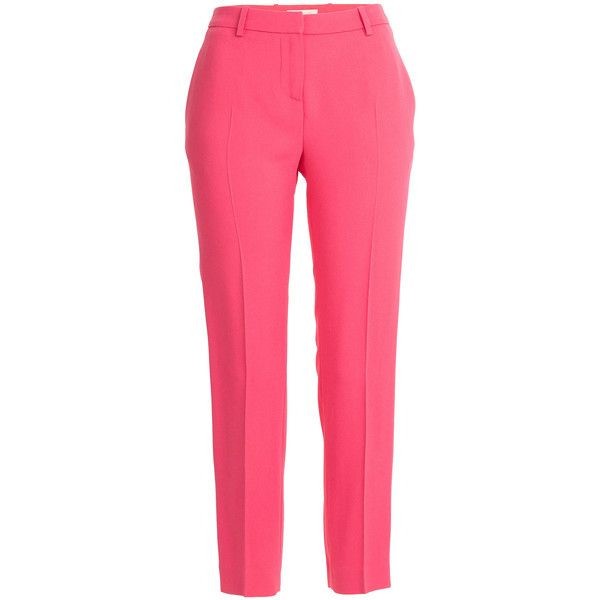 Vanessa Bruno Crepe Pants ($185) ❤ liked on Polyvore featuring pants, bottoms, trousers, pink, zip pants, slim fit trousers, slim fit pants, pleated trousers and wet look pants
