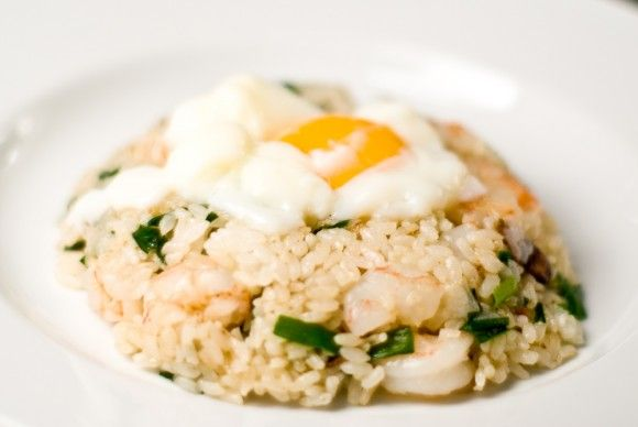 Shrimp fried rice with garlic chips and a slow cooked egg on top (Southeast Asian Recipes)
