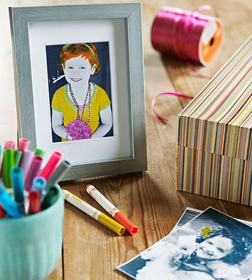 Turn a picture into an original work of art by having your child add her own colorful touch.                 Start by using your computer to turn a digital photograph black-and-white. For the sharpest results, you may want to increase the contrast and brightness. Print the image on photo paper. Have your child color in selected elements of the image with wide-tipped markers.                 Originally published in the December/January 2013 issue of FamilyFun magazine