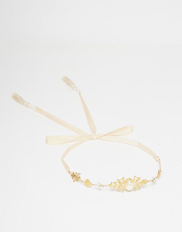 Image 3 ofOlivia The Wolf Jewelled Gold Tasseled Headband