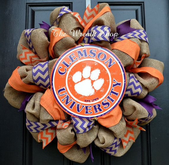 Clemson Tigers Burlap Wreath with Clemson by CreationsbySaraJane