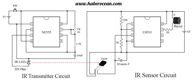 Anti-theft system designed using IR LED, TSOP IR sensor, NE555 and LM311  Read more at :  http://www.haberocean.com/2015/07/anti-theft-system-designed-using-ir-led-and-tsop-ir-sensor/