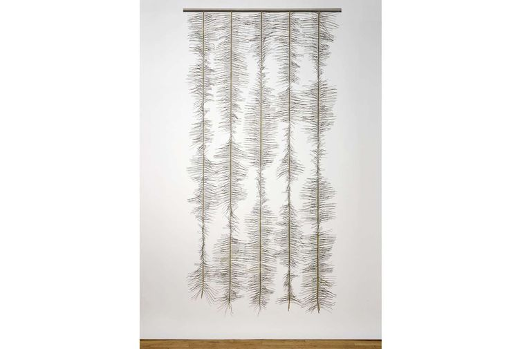 Salvage: Counterbalance, 2011 - Suzanne Tick. Weft of 2,555 recycled wires from dry-cleaning hangers and sheath core fibre warp, hand-woven plain weave on 24-harness AVL loom.