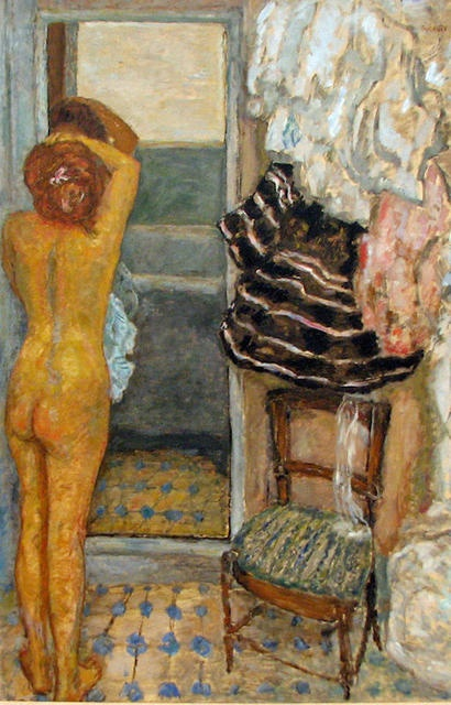 """Pierre Bonnard - """"The Full Length Mirror""""   Impressionism; notice how the woman is completely absorbed her in her reflection. The objects are clashing & fractured, and the mirror almost looks like a separate room. We are left us with just an impression of the viewers fixation and disorientation."""