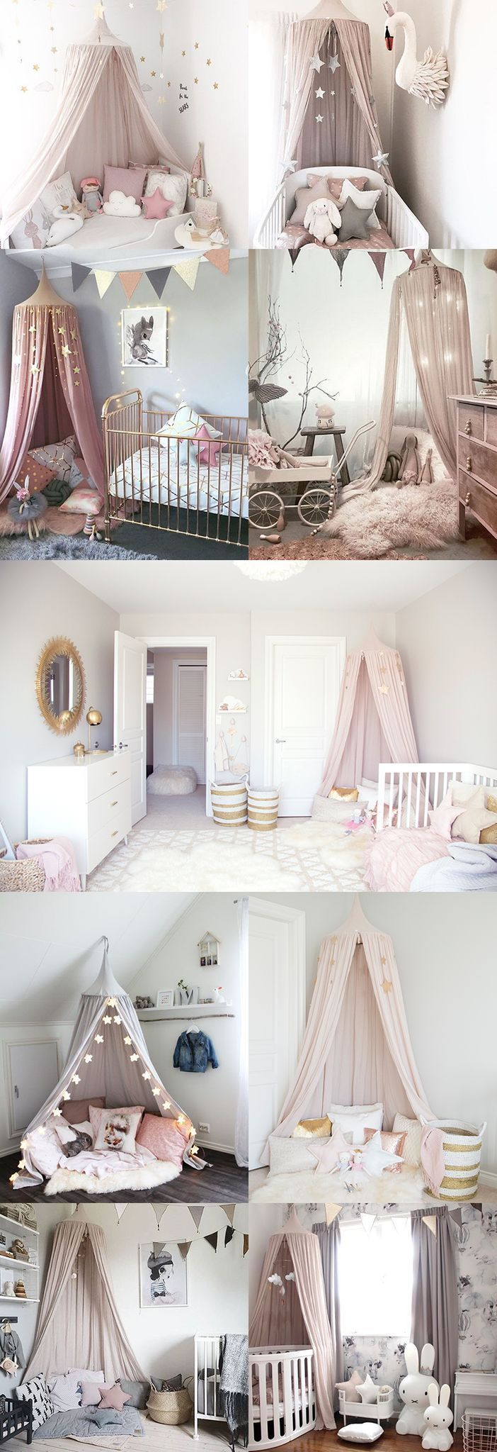 Kids and Baby Room Decor Ideas - Magical Pink Canopy Tent - Light Pink Blush White Gold (Cool Teen)