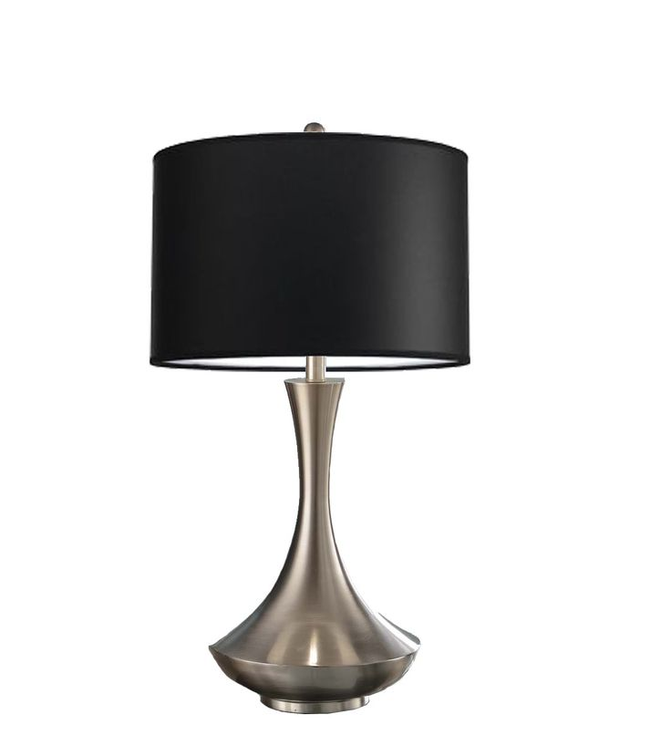 Artiva USA Aladdin, Contemporary Design, 30-Inch Brushed Steel Energy Saving Compact Fluorescent Table Lamp with Black Linen Shade. Chrome finish completes with black linen shade - Perfect for any home or office setting. Aladdin stands tall and firm granting a strong aura and beautiful charm in the room it decorates. Modern design with quality one-piece body construction for minimum and easy assembly!. Energy saving compact fluorescent bulbs included. Aladdin measures 30.5-inch tall x...