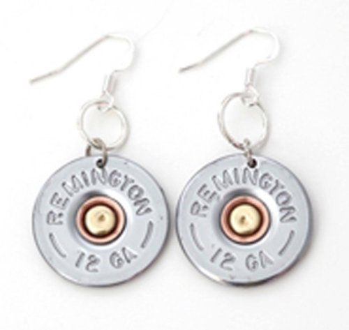 12 Gauge Nickel Bullet Earrings Bullet Designs. $24.95. .925 Sterling Silver Earwires. Free Gift Box Included!. Real Recycled Remington 12 Guage Nickel Bullets. All Silver plated Findings. Save 17% Off!