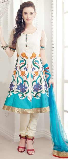 Off White Flair #Cotton Churidar #Kameez With #Dupatta @ $107.13 | Shop Here: http://www.utsavfashion.com/store/sarees-large.aspx?icode=kgf3261
