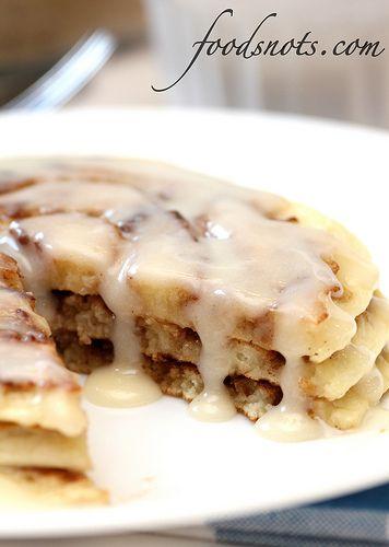 Cinnamon and sugar pancakes (or waffles) with cream cheese glaze. Tastes like a Cinnabon!!