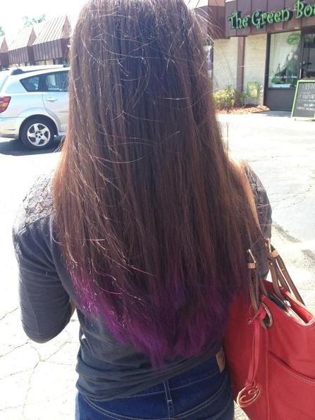 Purple dip dye on brown hair by Adeline Hutmacher
