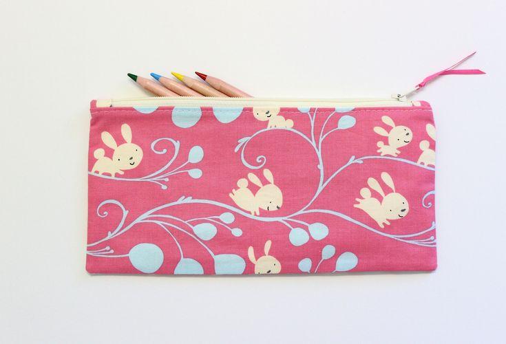 Bunny Pencil Case, Pencil Pouch, Makeup Bag, Cute Pencil Case, School Supplies, Gift Ideas by LittleFoxSewsLots on Etsy