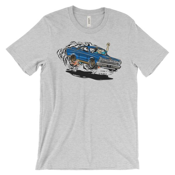 1967 Ford Fairlane Hot Rod Cartoon T-Shirt. This Ford certainly isnt found on the road dead. Any gearhead can get comfortable in this great tee.