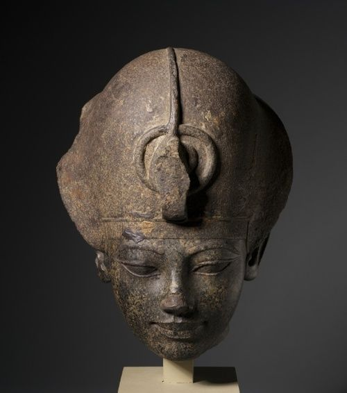 The head of Amenhotep III wearing the blue crown-Egypt, New Kingdom, Dynasty 18, reign of Amenhotep III    Date: c. 1391-1353 BC    Medium:granodiorite