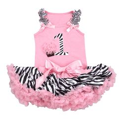 "Gorgeous pettiskirt plus light pink cotton tank top with ""1"" zebra number,rosettes cupcake and bows. Double layered and made of fabulous NYLON CHIFFON."