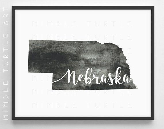 77365b6bbd4b Nebraska State Outline Watercolor - Typography Printable Download ...
