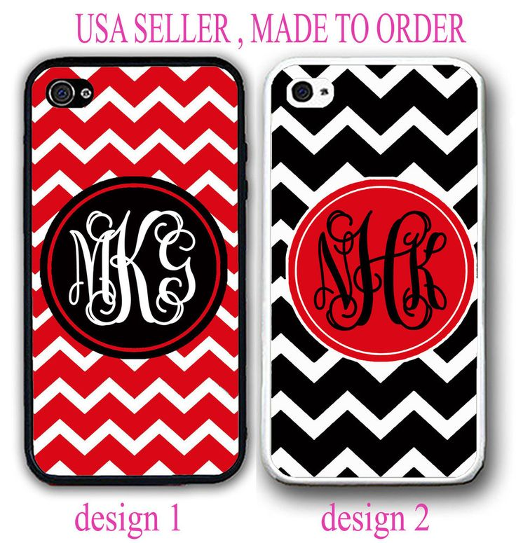 NEW CUSTOM PERSONALIZED RED BLACK CHEVRON MONOGRAM CASE FOR IPHONE 7 7+ 6S 6 SE #UnbrandedGeneric