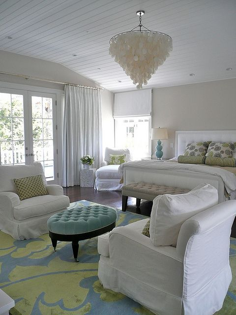 Master Bedroom color palette and I like the round ottoman