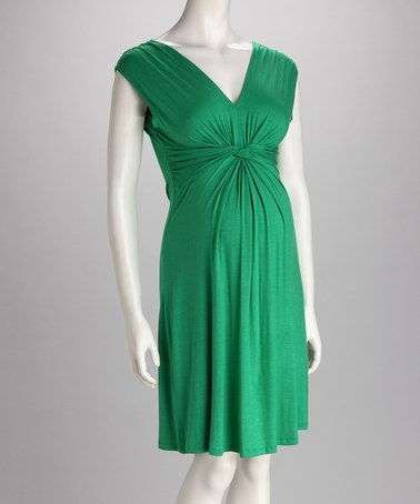 Love this Green Knot-Front Maternity Sleeveless Dress on #zulily! #zulilyfinds