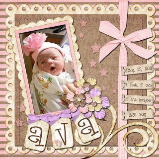 Sweet Pink Baby Page...⊱✿-✿⊰ Follow the Scrapbook Pages board visit GrannyEnchanted.Com for thousands of digital scrapbook freebies. ⊱✿-✿⊰