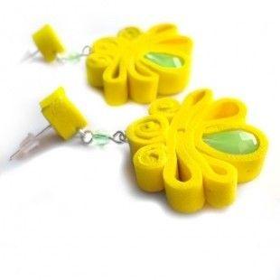 Summersun orecchini in moosgummi giallo -  pezzo unico