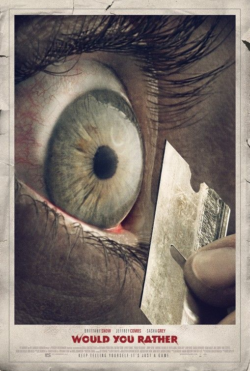 photograph based movie poster, the photo have a close shoot on the eye with a metal blade, lead people want to find out what is going on with the movie. From the photograph, people knows that there are something bad in the movie.