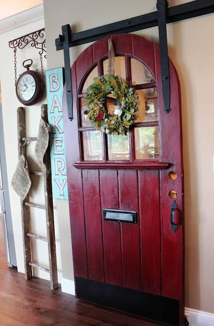 Door from Philadelphia Salvage as Sliding Pantry Door - Sanded, painted Barn Door Red by Glidden, then waxed with Maison Blanche antique dark wax.