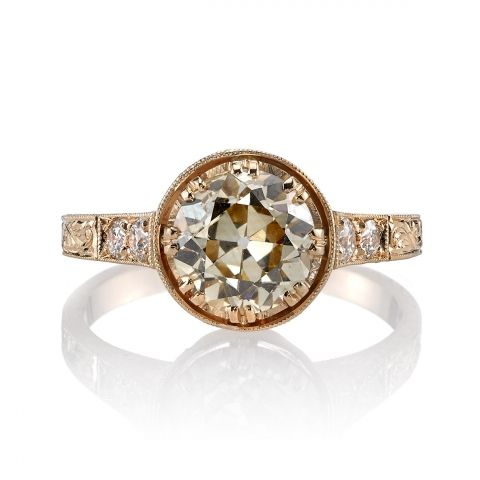 1.87ct Brown/ SI1 old Mine cut diamond set in a handcrafted 18K rose gold mounting. A classic Edwardian design that features hand engraving.