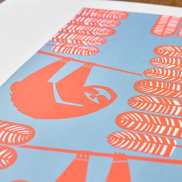 'Summer Sloths' Hand pulled screen print