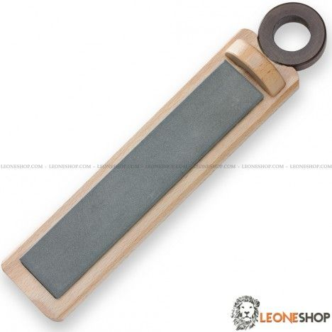 "Professional Knives Sharpening Stone DUE CIGNI Italy, sharpening stones with natural fine grain that allows you always to be able to sharpen at best your Knife or any other cutting tool, In fact this natural fine grain is used for the finishing work of your blade - Dimensions 11.42"" x 2.17"" x 0.79"" - Complete with Wooden support - For sale Online Knives Sharpening Stones DUE CIGNI Italy - LEONESHOP.COM - All the best sharpening stones and the best knives directly to your home"