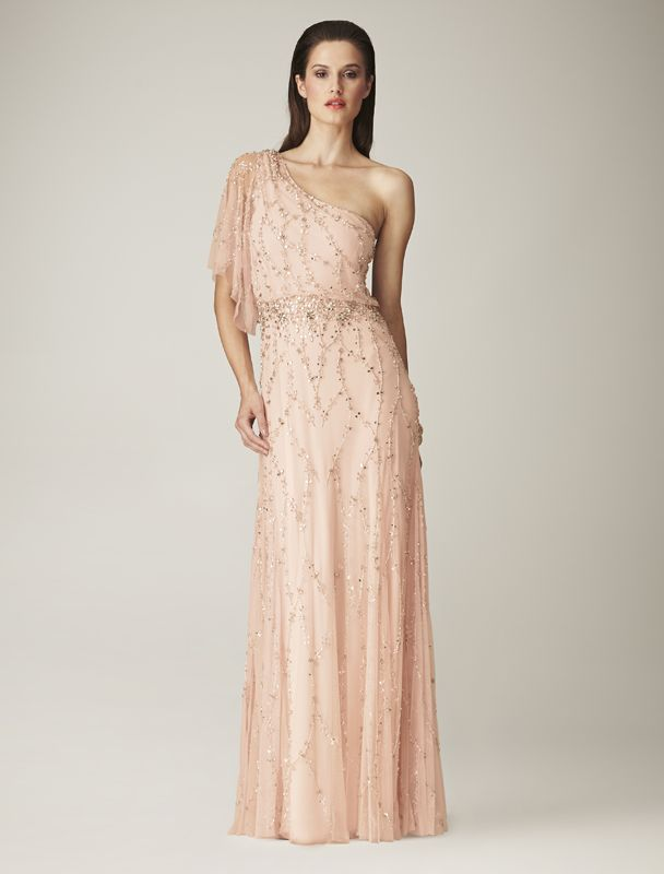 Mignon One Shoulder Blush Evening Dress Asymmetric With Beaded Cap And Drape Sleeves A Sand Out Formal Outfit