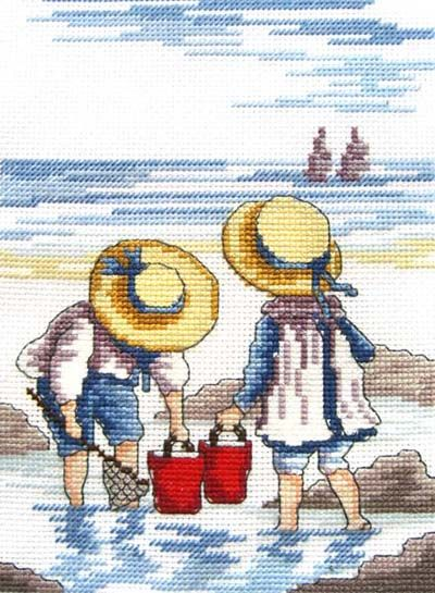 Rock Pooling - All Our Yesterdays Cross Stitch Kit By Faye Whittaker