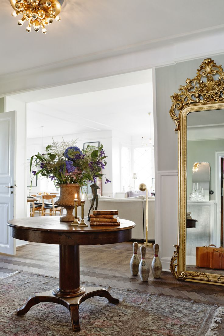 Deco, round foyer table and mirror on pinterest