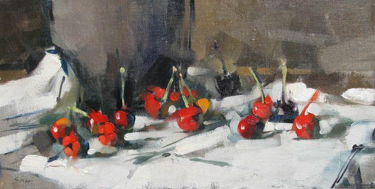 MAGGIE SINER - PAINTINGS tabletop cherries