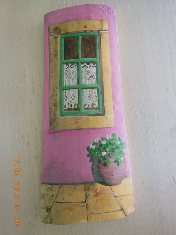sandylandya@outlook.es Hand painted cut Greek roof tiles by Kymacreative on Etsy,